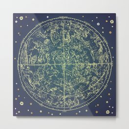 Stars Constellations Map Metal Print