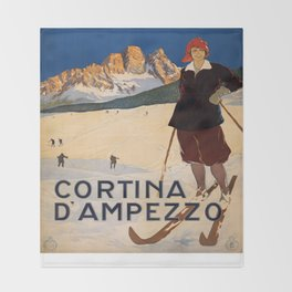 Vintage poster - Cortina d'Amprezzo Throw Blanket