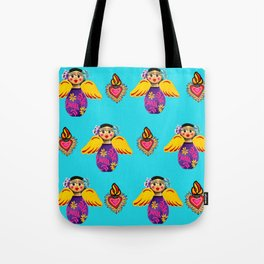 Angels and Hearts Turquoise Tote Bag