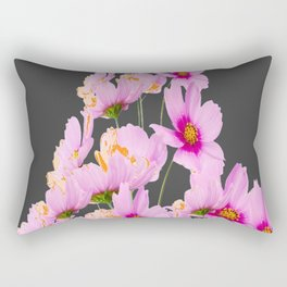 PASTEL FUCHSIA PINK COSMOS FLOWERS  ON GREY COLOR Rectangular Pillow
