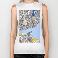 mondrian Biker Tanks featuring Lisbon mondrian by Mondrian Maps