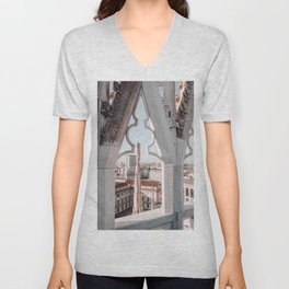 Peekaboo - Italy Milan photo - Colourful pastel travel street architecture photography art print Unisex V-Neck