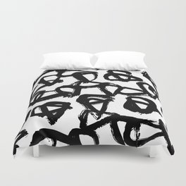 Painted Geometric Black and White Duvet Cover
