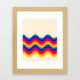 Wavy retro rainbow Framed Art Print