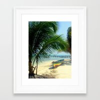 reggae Framed Art Prints featuring reggae boat by Coleaboration ART