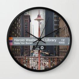 State and Van Buren Harold Washington Library Stop - Chicago El Wall Clock