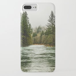Wanderlust Forest River - Mountain Adventure in Foggy Woods iPhone Case