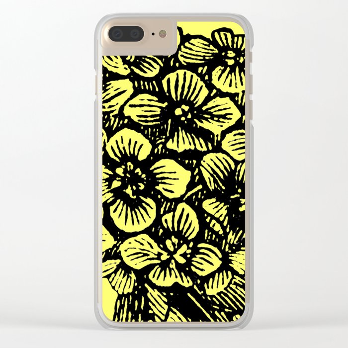 Yellow Hydrangea Clear iPhone Case