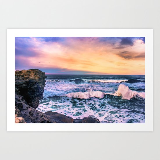 Sunset of the Bay of Biscay Art Print