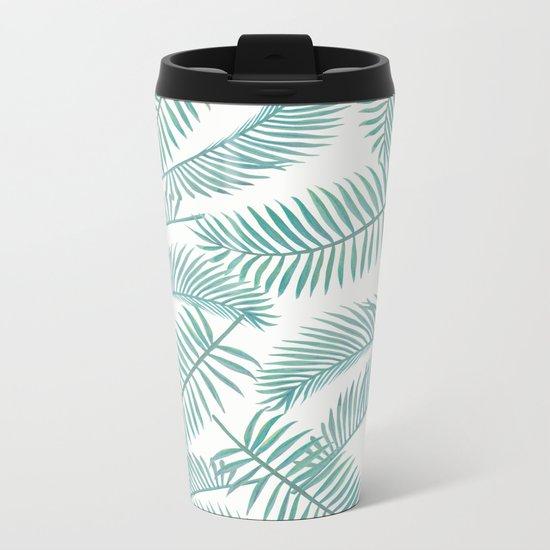 Palm Leaf Pattern Island Paradise Metal Travel Mug