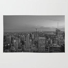 Manhattan sunset. Black and white photo Rug