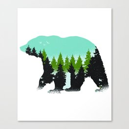 Animal Art Forest Bear With Green Trees Canvas Print