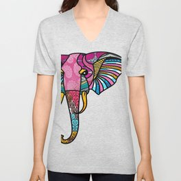 Pink Retro Elephant Unisex V-Neck