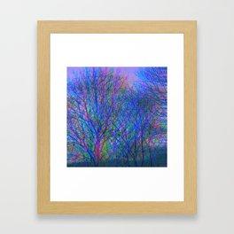 Blurred Winter Forest, blue Framed Art Print