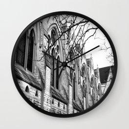 B&W Church Photography Wall Clock