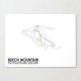 Beech Mountain, NC - Minimalist Winter Trail Art Canvas Print