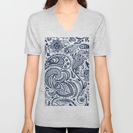Dark blue floral paisley pattern Unisex V-Neck