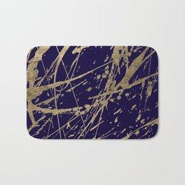 Elegant faux gold modern navy blue paint splatters Bath Mat