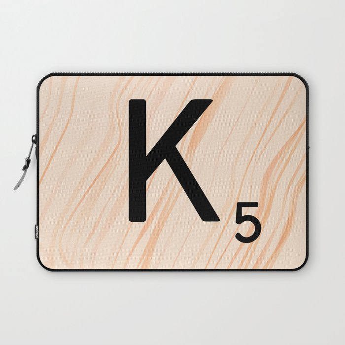 scrabble letter k - large scrabble tiles laptop sleeve by ekphotoart