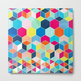 Super Bright Color Fun Hexagon Pattern Metal Print