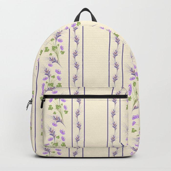 Delicate purple flowers. Backpack