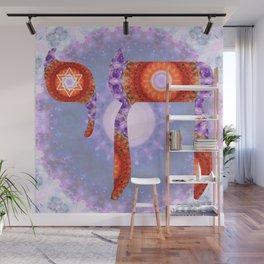 Red And Purple Judaic Art - Chai 4 - Sharon Cummings Wall Mural