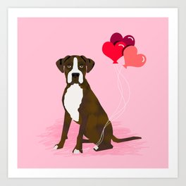 Boxer dog lover valentines day heart balloons must have gifts for Boxers Art Print