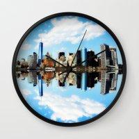 new york Wall Clocks featuring New York New York by haroulita