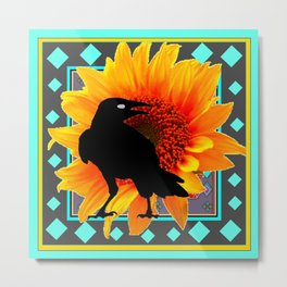 WESTERN CROW SUNFLOWER TURQUOISE-GREY  ART Metal Print