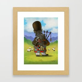 Scottie with a bagpipe Framed Art Print