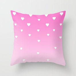 Pink Ombre with White Hearts Throw Pillow