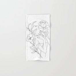 Minimal Line Art Woman with Peonies Hand & Bath Towel