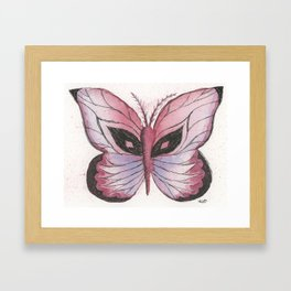 Ink and Watercolor Butterfly in rose colored tones Framed Art Print