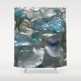 Ocean Hue Sea Glass Assortment Shower Curtain