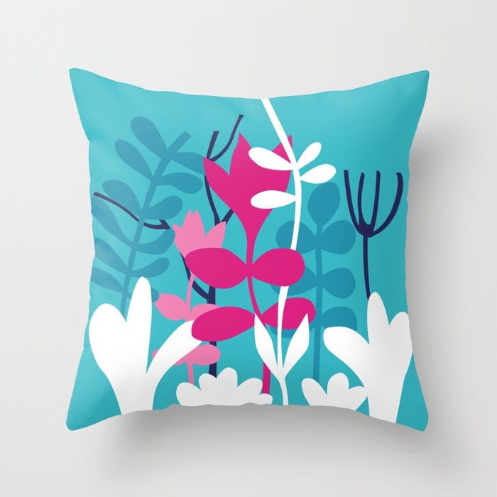 Flower Bouquet in Blue and Pink Throw Pillow