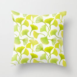 First Day of Autumn Ginkgo Leaves Throw Pillow