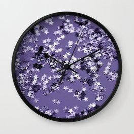 Ultra Violet Glitter Stars #1 #shiny #decor #art #society6 Wall Clock
