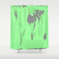 map of the world Shower Curtains featuring World Map : Gall Peters Seafoam Green by 2sweet4words Designs