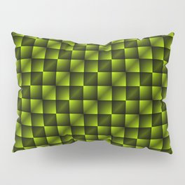 Fashionable large lozenges from small yellow intersecting squares in gradient dark cage. Pillow Sham