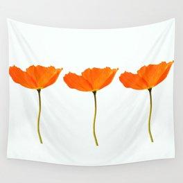 Three Orange Poppy Flowers White Background #decor #society6 #buyart Wall Tapestry