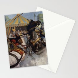 Knights jousting Stationery Cards