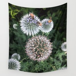 Bees on wildflowers in the summer garden 2 Wall Tapestry