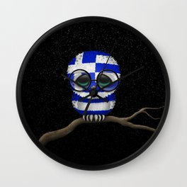 Baby Owl with Glasses and Greek Flag Wall Clock