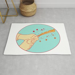 Congratulations Hand Popping Champagne Drawing Rug