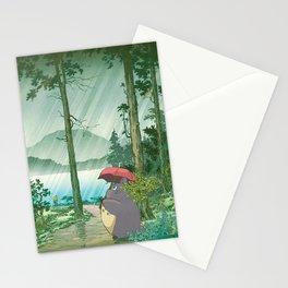 Anime and vintage japanese woodblock mashup Stationery Cards