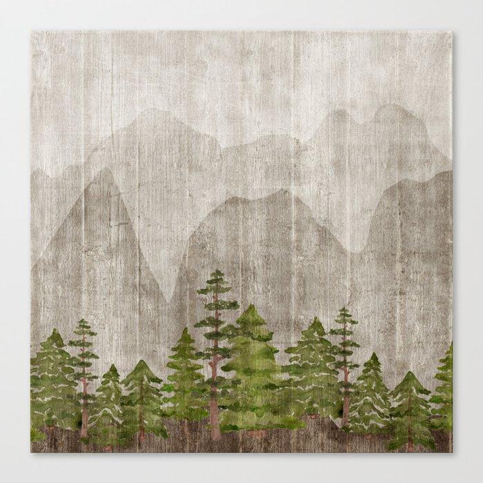 Mountain Range Woodland Forest Leinwanddruck