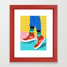 Toe Drag - memphis throwback fashion shoes retro pattern grid pink bright neon hipster Framed Art Print