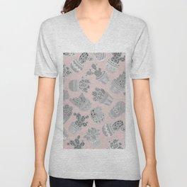 Modern silver blush pink trendy cactus floral Unisex V-Neck
