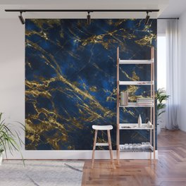 Exquisite Blue Marble With Luxury Gold Veins Wall Mural