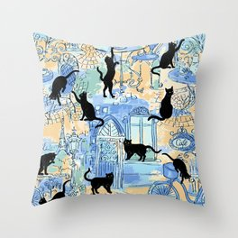 Black at caffe on Paris streets blue Throw Pillow